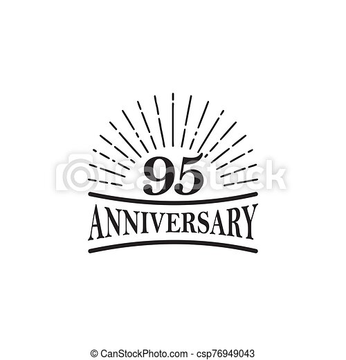 95th Year Anniversary Emblem Logo Design Template  95th