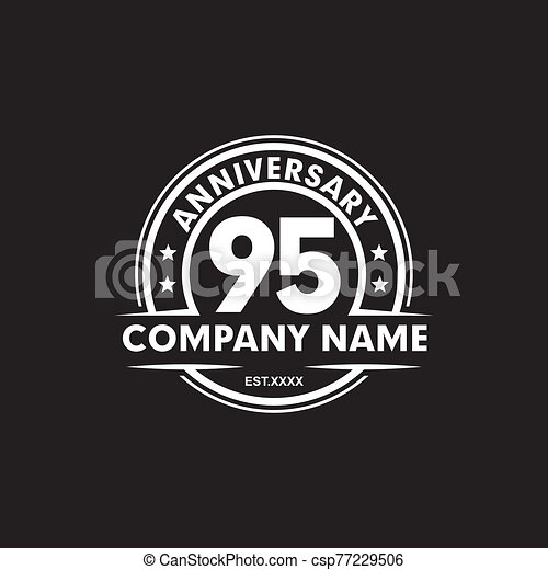95th Year Anniversary Emblem Logo Design Vector Template