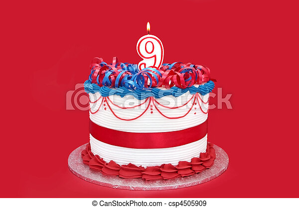 9th Cake With A Number 9 Candle On Vibrant Red Background