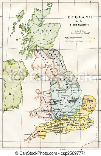 Map Of England 9th Century.9th Century Map Of Britain An Engraved Image Showing A 9th Century