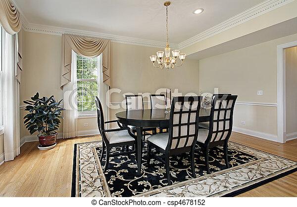 Étkező, fekete, szoba, asztal. Szoba, külvárosi, étkező ...