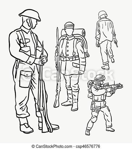 ação soldado exército desenho mão mascote ou uso bom