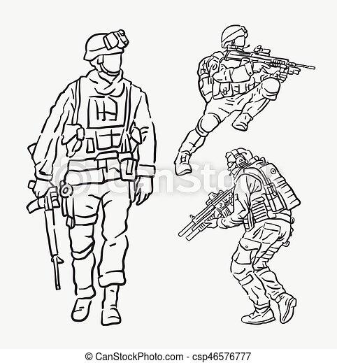ação soldado exército desenho mão mascote teia uso bom
