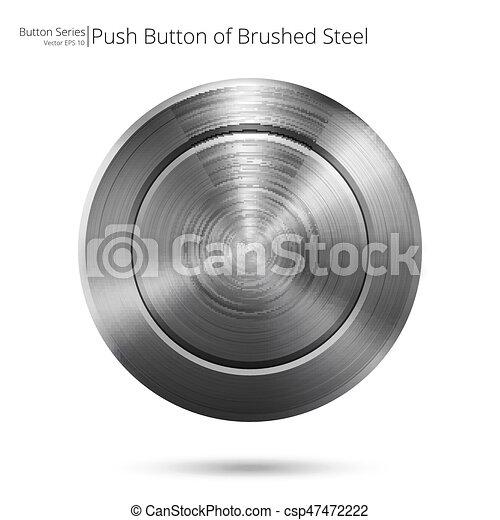 aço, escovado, button. - csp47472222