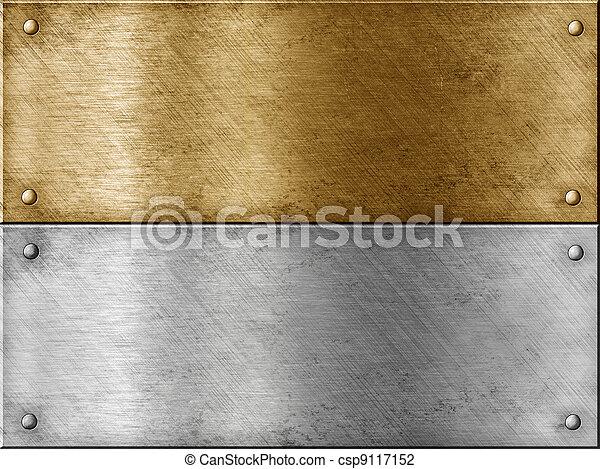 aço, jogo, ouro, (brass), metal, incluindo, pratos, (copper), ou, bronze - csp9117152
