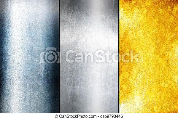 aço, prato, res, metal, textura, experiência., olá - csp9793446