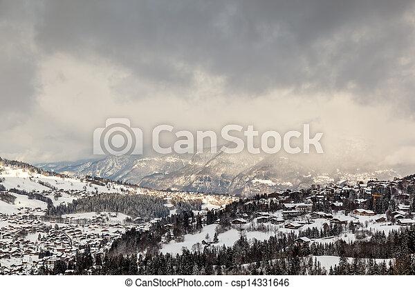 aéreo, alpes, frança francesa, recurso, megeve, esqui, vista - csp14331646