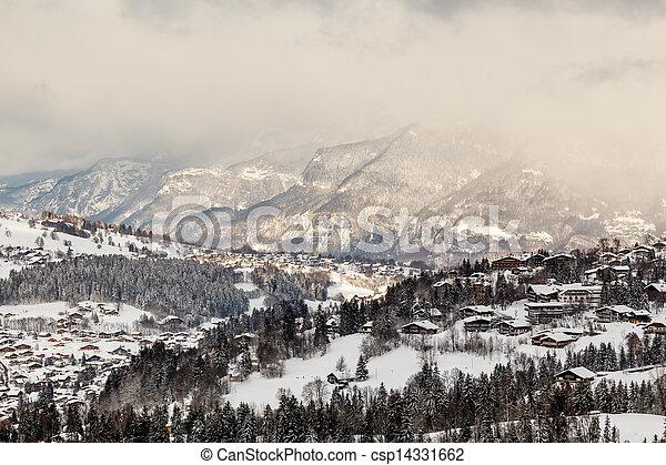 aéreo, alpes, frança francesa, recurso, megeve, esqui, vista - csp14331662