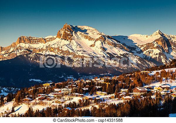 aéreo, alpes, frança francesa, recurso, megeve, esqui, vista - csp14331588