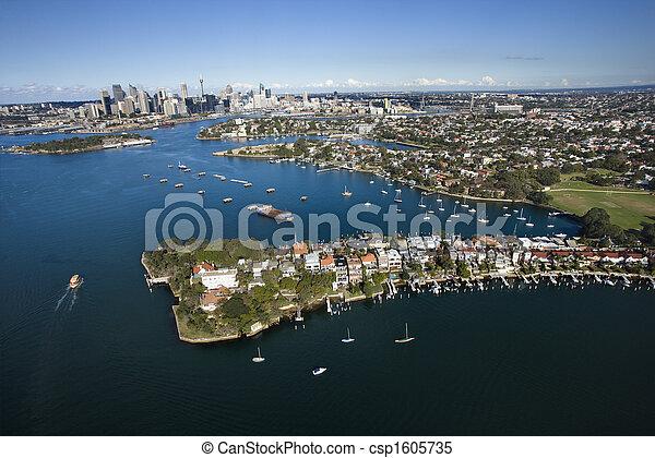 Aéreo de la bahía de caracoles, australia. - csp1605735