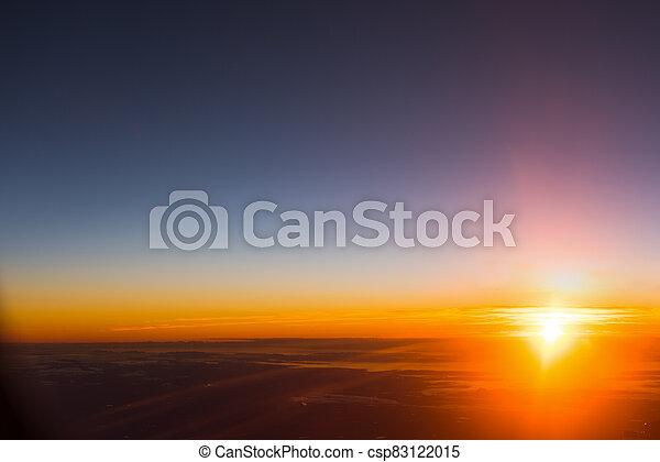 aéreo, claro, cielo de puesta de sol, vista - csp83122015