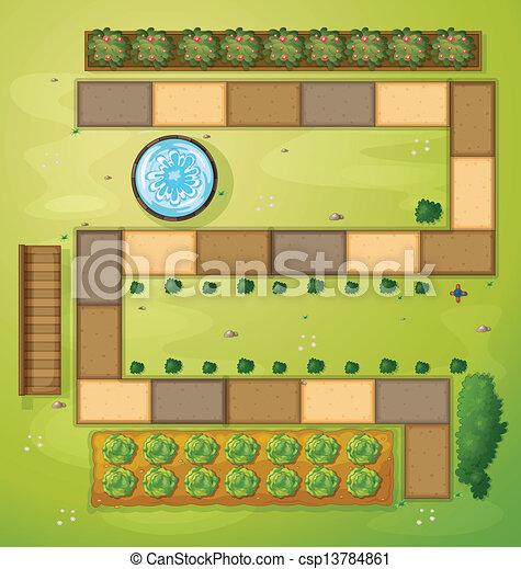 aéreo, jardim, vista - csp13784861
