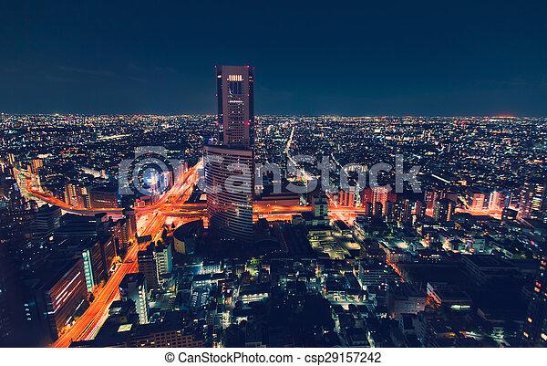 Vista aérea de las ciudades de noche en Tokio, Japón - csp29157242