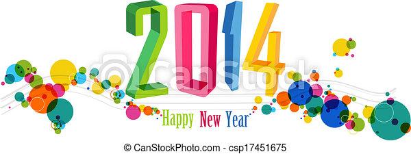 Feliz Año Nuevo 2014 ilustración de vectores de vectores - csp17451675