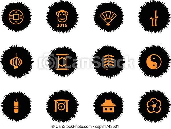 Año nuevo chino simplemente iconos - csp34743501