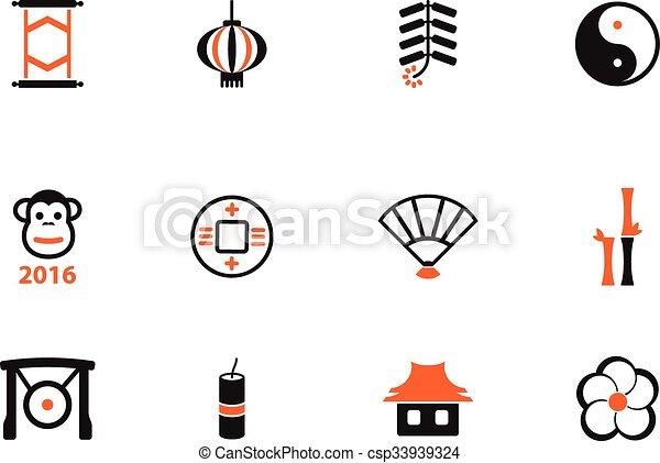 Año nuevo chino simplemente iconos - csp33939324