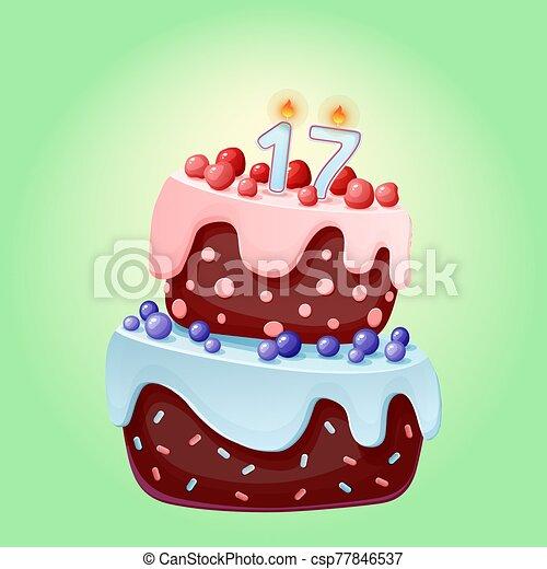año, pastel, sixteen., galleta, cumpleaños, aniversarios, partidos, chocolate, blueberries., bayas, vela, 17, caricatura, cerezas, lindo, festivo, número - csp77846537