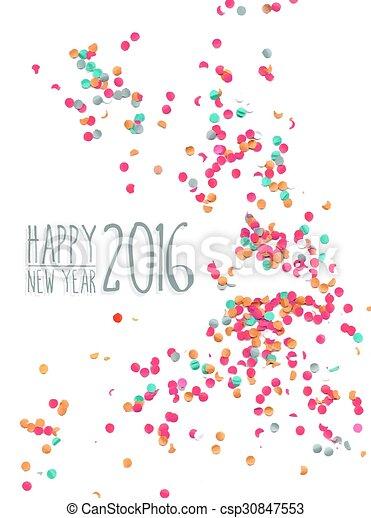 Feliz año nuevo 2016 antecedentes de fiestas confeti - csp30847553