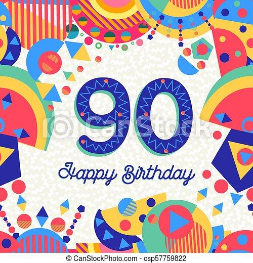 Tarjeta De Felicitación De 90 Años Feliz Cumpleaños Noventa