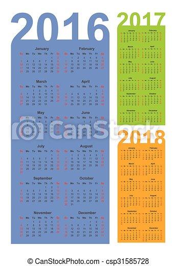 Calendario para 2016, 2017 y 2018 años, vector - csp31585728