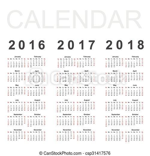 Calendario para 2016, 2017 y 2018 años, vector - csp31417576