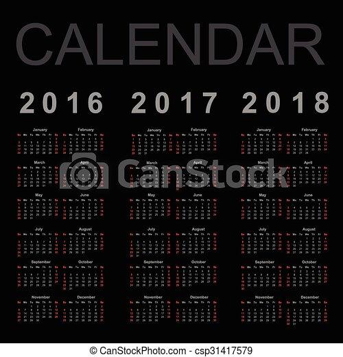Calendario para 2016, 2017 y 2018 años, vector - csp31417579