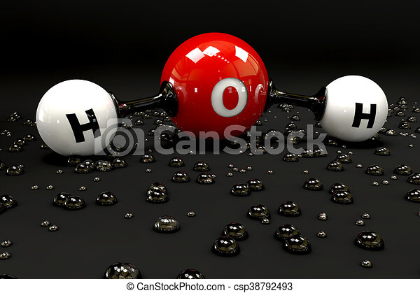 A 3D Illustration molecule of water on a black background - csp38792493