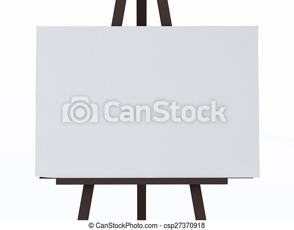 a 3d white canvas on an easel 3d illustration blank canvas on an