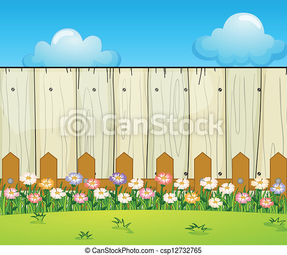 a backyard with flowers illustration of a backyard with flowers rh canstockphoto com backyard garden clipart backyard clip art free