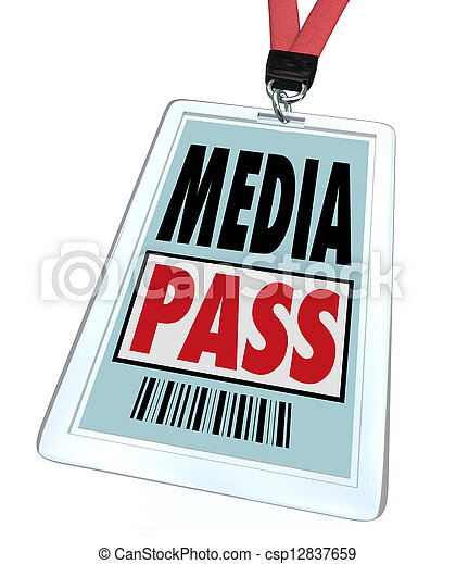 A badge and lanyard reading Media Pass to give a journalist or reporter special clearance to interview a public or famous person or to get exclusive access at a restricted event - csp12837659
