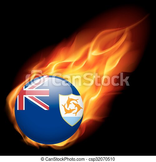 A badge in colours of Anguilla flag - csp32070510