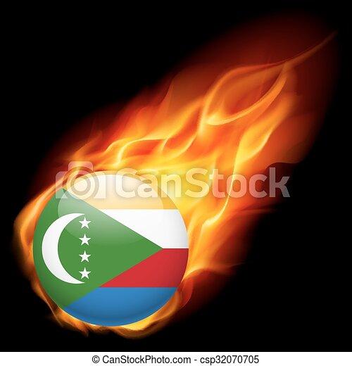 A badge in colours of The Comoros flag - csp32070705