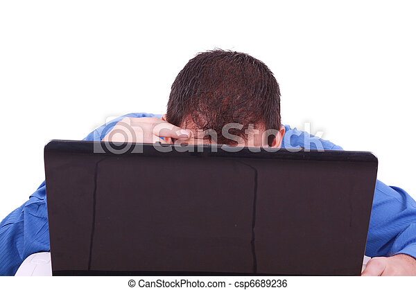 a bald man hiding behind his laptop computer screen