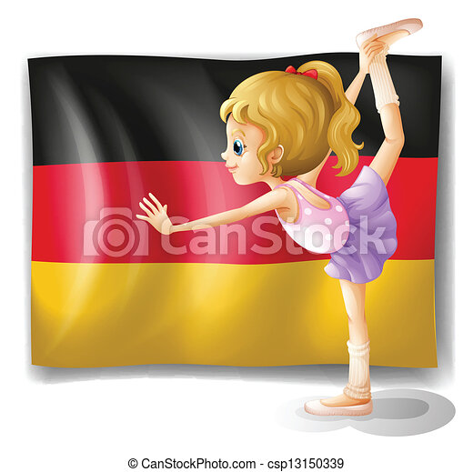 A ballet dancer in front of the flag of Germany - csp13150339
