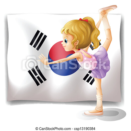 A ballet dancer in front of the South Korean flag - csp13190384