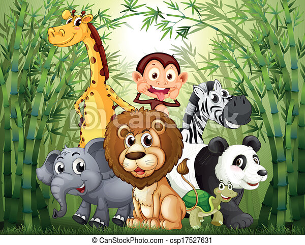 A Bamboo Forest With Many Animals Illustration Of A Bamboo Forest
