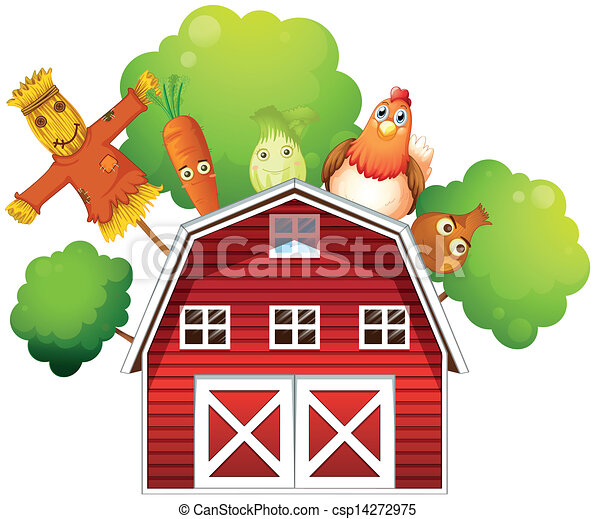 A barn with a chicken and fruits at the back  - csp14272975
