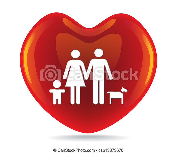 A Basic Family In Big Heart Symbol