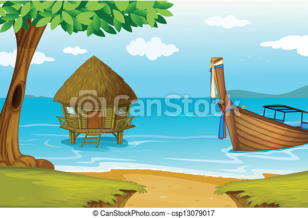 A Beach With Cottage And Wooden Boat Vector