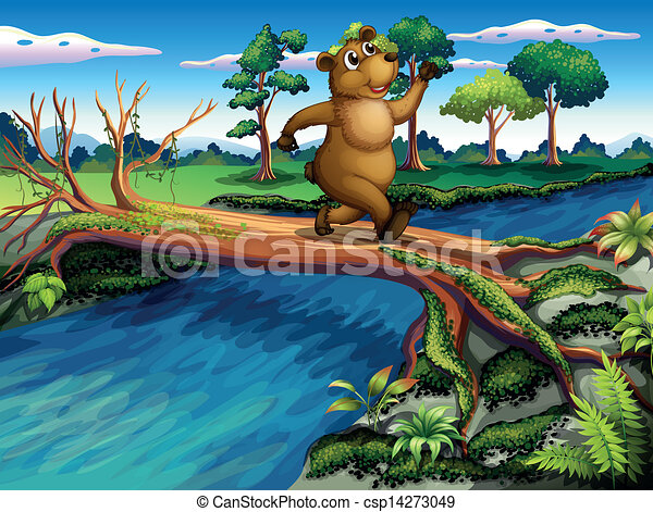 A bear running while crossing the river - csp14273049