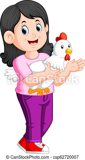 a beatiful Girl holding a rooster - csp62720007