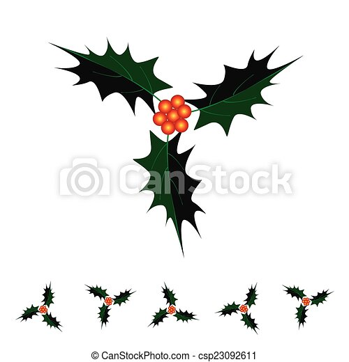 A Beautiful Christmas Holly Twig on White Background - csp23092611