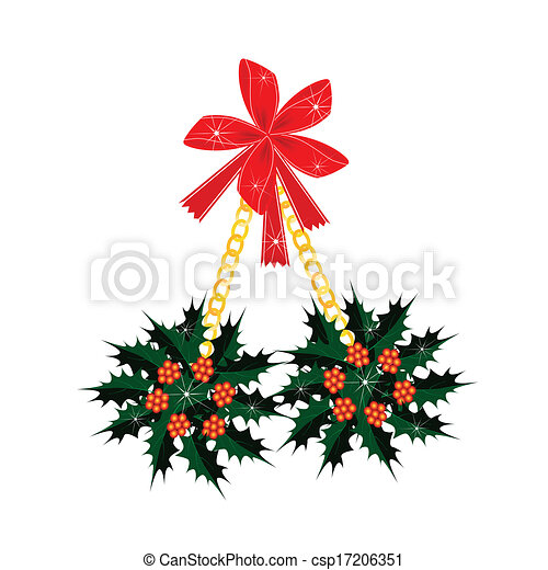 A Beautiful Christmas Holly with A Red Bow - csp17206351