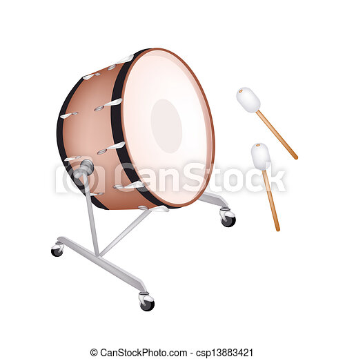 A Beautiful Classical Bass Drum On White Background Vector