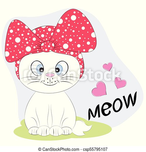A Beautiful Cute Kitty Cat In A Hat With Lettering Meow Graphics For T Shirts Greeting Card Vector Illustration