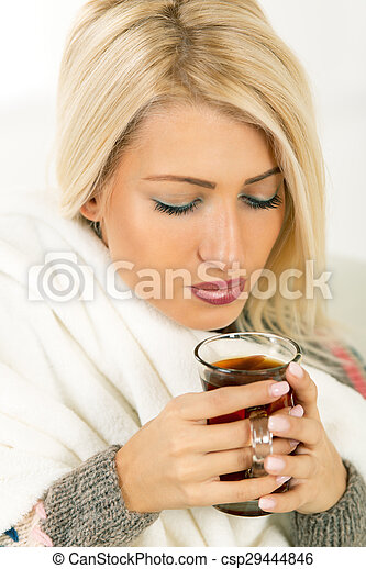 A Beautiful Girl With A Cup Of Tea - csp29444846