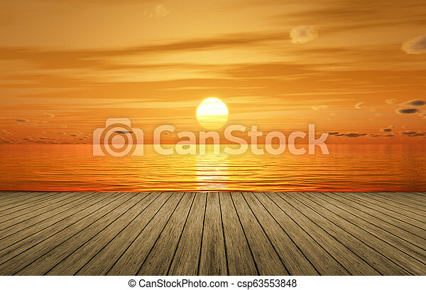 a beautiful golden sunset over the ocean and a wooden jetty - csp63553848