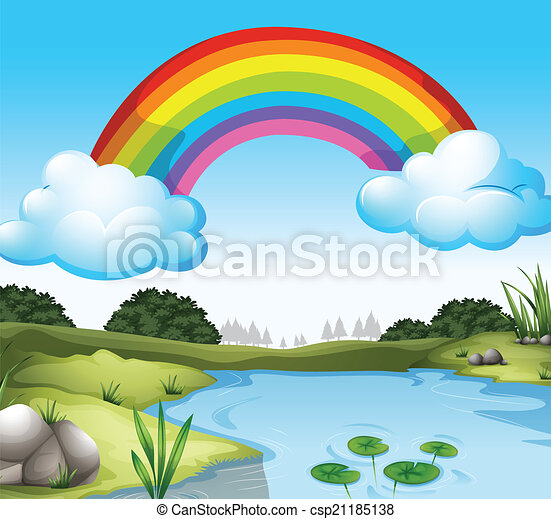 A Beautiful Scenery With A Rainbow In The Sky Illustration Of A