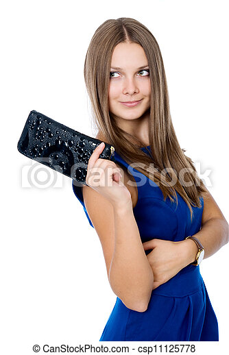 A beautiful woman with a black purse - csp11125778
