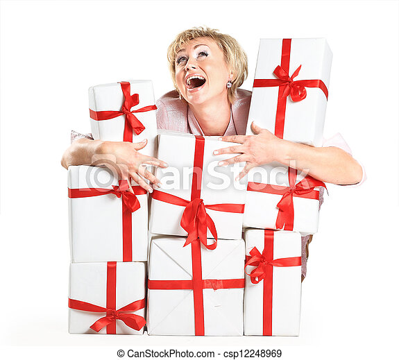 A beautiful woman with gifts. - csp12248969